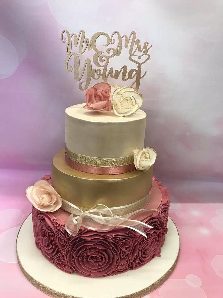 Rose Wedding Cake - The Delicious Cake Company